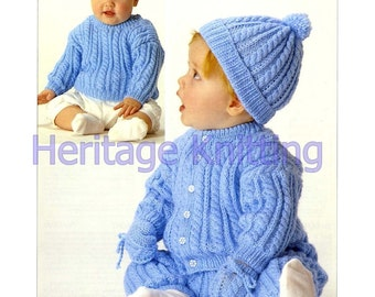 boys sweater / cardigan / trousers / hat and mittens dk knitting pattern 99p