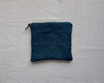 Blue makeup bag purse indigo dyed wallet zip pouch eco sustainable cosmetics minimalist style gifts for her travel phone pencil case tablet