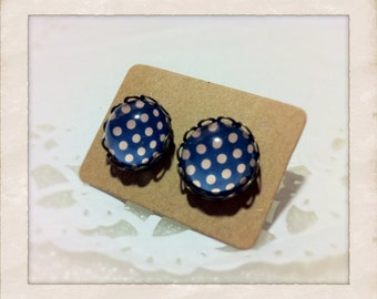12mm Glass Blue Pink Polka Dots Vintage Style Earrings