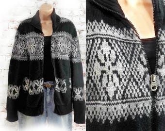 Nordic Sweater_ Zip Up Sweater - Black Cardigan -ski sweater -grunge sweater - Medium sweater # 23