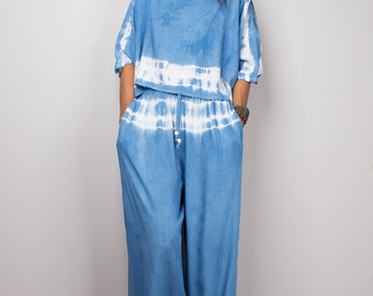 Blue top and matching tie dye pants, summer set, loose fit pants, lounge wear, beach wear, festival outfit : Shibori collection