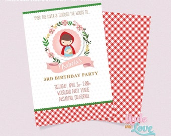 Little Red Riding Hood Invitation | Forest Woods Red Plaid Storybook Big Bad Wolf Birthday Party/ Girl Invitation, Digital Invitation