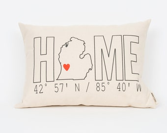 Personalized Pillow, Home Coordinates Pillow, Custom Pillow, Housewarming Gift, Custom Coordinates, Realtor Gift, Personalized State Pillow