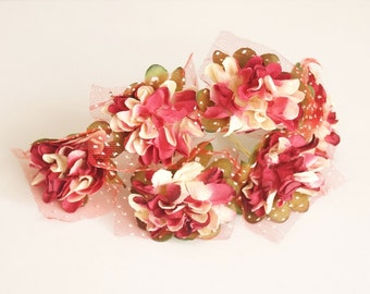 Bridal Hair Accessories, Burgundy Red Flower Hair Bobby Pins- set 6