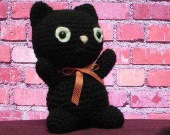 Amigurumi crochet black cat, stuffed black cat, Halloween cat