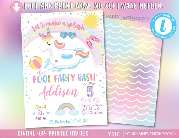 Unicorn Pool Party Invitation, Pool Party Birthday, Unicorn Birthday Party Invitation, Pool Party Invitation, Birthday Invite, Summer,