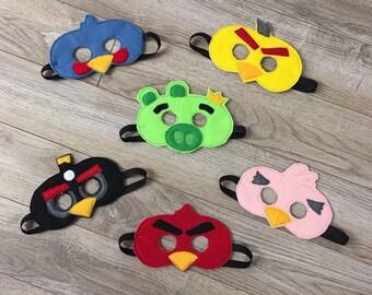 Angry Birds Inspired Masks Kids Masks Kids Costumes Bird Mask Pig Mask Kids Masks Halloween Masks Angry Bird Birthday Angry Bird Party Favor