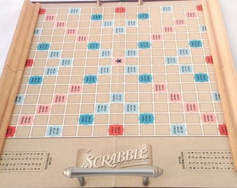 Handmade serving tray made from vintage Scrabble boards. 2 boards thick. Metal handles