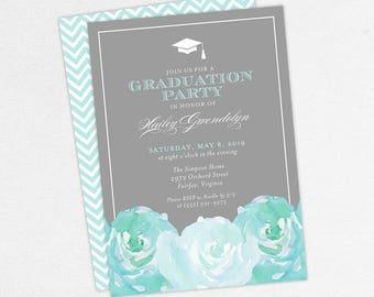 Graduation Invitation, Graduation Announcement, Printable Invitation, Invitation PDF, DIY, Printed, Watercolor Flowers, Gray, Blue, Hailey