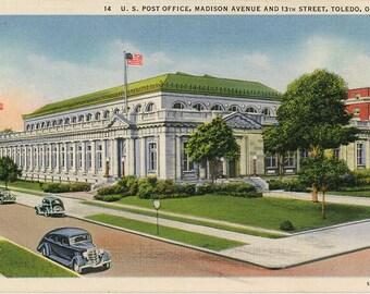 Toledo Ohio U.S. Post Office Madison Avenue Vintage Postcard (unused)