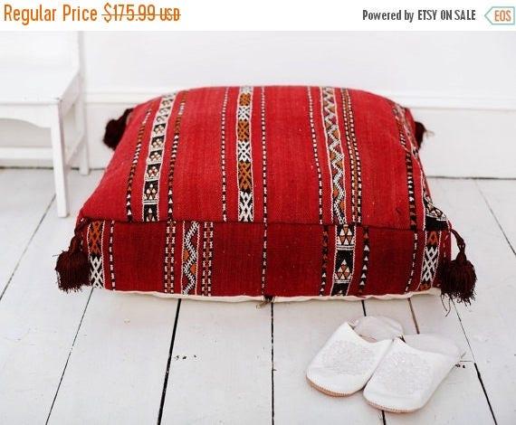 30% OFF Pouf Sale// 23''x23'' x 7'' Tribal Vintage Moroccan pouf, Red Berber pouffe, Floor cushion, Moroccan pouf, Floor pouf, Square Pouf,