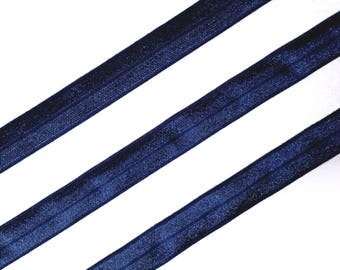 1/5/10mt Navy Fold Over Elastic Strap  (FOE) - Shiny/Matt Ribbon for Headband and Lingerie making