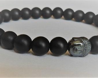8 mm Black Matte Shungite Bead Stretchy Bracelet Mala Yoga Buddha 17cm/19cm/22cm/??cm