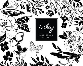 Inky floral Clipart - Flower graphics perfect for creating wedding invitations, greeting cards, scrapbooking and more.