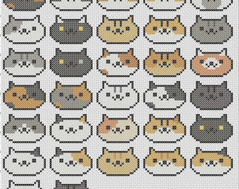 Complete Neko Cat Collection Neko Atsume Cross Stitch Pattern Easy Tiny Patterns