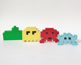Handmade 8 Bit Atari Space Invaders Set