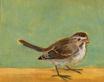 Sparrow with Green and Gold, Original Oil Painting, bird art