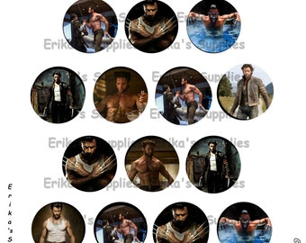 Hugh Jackman's Wolverine Logan 1 inch Bottle Caps Digital Download  5.8 x 7.5