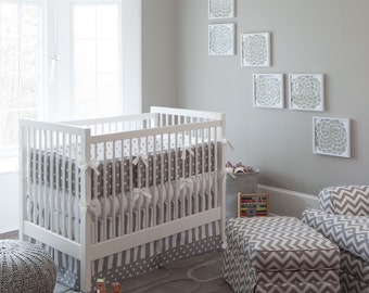 Gender Neutral Crib Bedding / Girl Baby Bedding / Boy Bedding Gray and White Dots and Stripes 4-Piece Crib Bedding Set by Carousel Designs