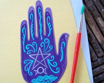 Henna , Mehndi Hand , Magnet ,   pentagram, triple moon, wiccan protection, Made To Order