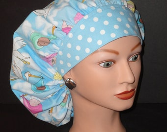 The Perfect Sized Bouffant Scrub Hat...Storks/Babies w/Polka Dot Band...Surgical Hats/OR Scrub Hatstand