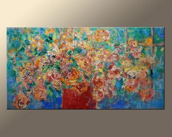 Modern Art Flower Art Abstract Painting Original Oil Painting Large Painting Abstract Canvas Art Canvas Wall Art Living Room Decor
