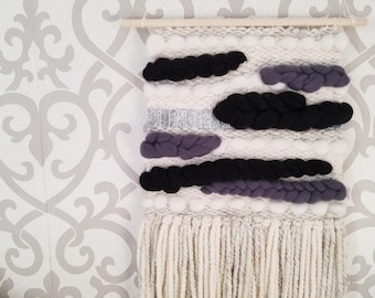 Black, White, Grey, Silver Woven Wall Hanging - Wall Weaving - B&W Tapestry