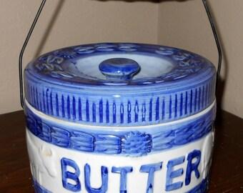 Vintage Butter Crock -Butter Crock w/ Wood Handle & Lid...Primitive Folk Art - Rustic - Farm - Country - Dairy Cows - Cheese