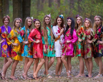Bright Large Floral Blossom Silk Bridesmaids robes | Kimono getting ready robes, Satin Robes Bridesmaids gifts Bridesmaid Robes, Silky Robes