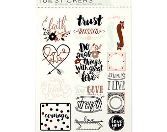 Prima - Love - Faith - Scrap Planner - Stickers - Phrase