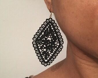 Single black lace earring