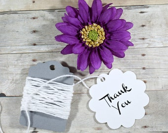 White Thank You Tags 20pc - White Circle Tags - Bridal Shower Tags - Round Tags - Scalloped Edge Favor Tags - Scallop Baby Shower