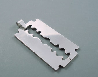 Razor Blade Pendant Charm,  Large Stainless Steel Pendant Charm, 3D Charm