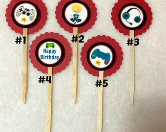 Set Of 12 Video Game Birthday Party Cupcake Toppers (Your Choice Of Any 12)