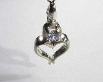 Silver  Heart  with  Cz Stone