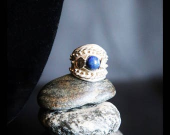Ring Silver 925 lav. lost wax casting with laspislazzulo