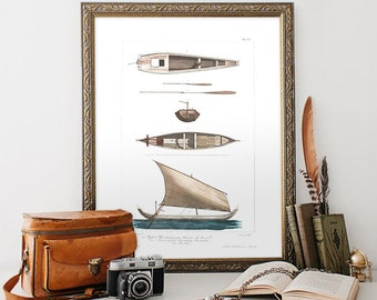 Vintage Natural History Print, Boat Print, Vintage Home Decor Reproduction, Boat Decorative Reproduction. Minimalist Home Decor N01