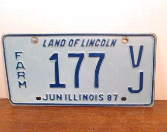 Illinois Farm License Plate 1987 Blue 177