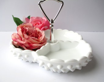 Vintage Fenton Milk Glass Hobnail Handled Relish Dish - Weddings Bridal
