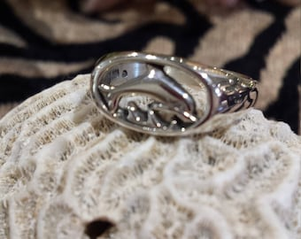 Sterling silver dolphin ring, size 7