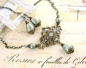 Sage Green Victorian Jewelry - Antique Brass Vintage Style Teardrop Necklace and Earrings Swarovski Pearl Sage Green Rustic Wedding Jewelry