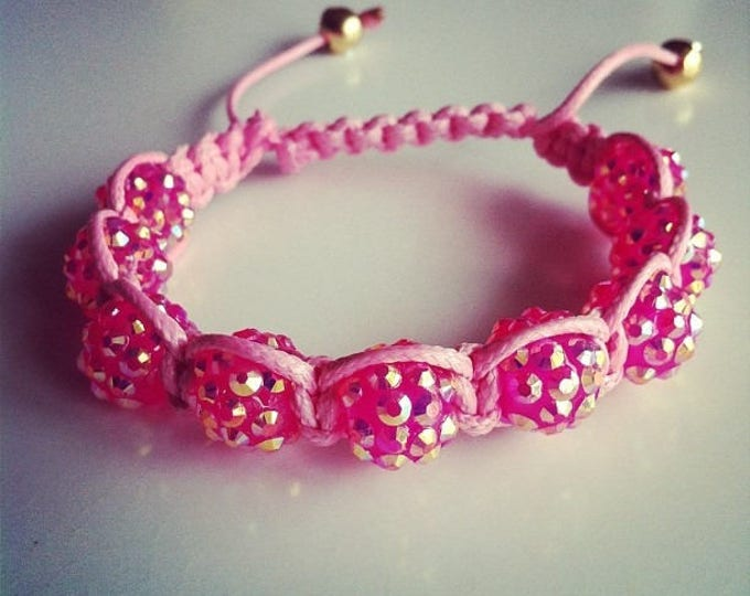 Adjustable Shamballa bracelet pink #28