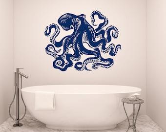 Octopus Wall Decal Tentacles Vinyl Sticker Decals Kraken Octopus Fish Deep  Sea Scuba Ocean Animals Bathroom Home Decor Nautical Bedroom X120