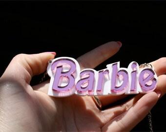 Barbie necklace Statement necklace Barbie pendant Barbie gift Barbie girl jewelry Barbie Font Custom Nameplate Necklace Laser Cut Acrylic