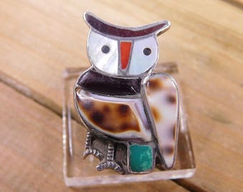 Sterling Silver Shell Owl Ring Size 4.5