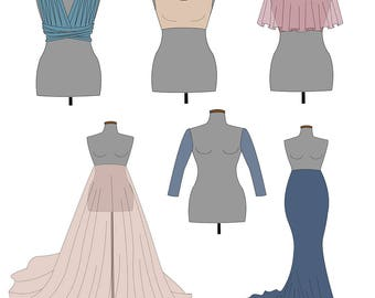The StartUp Pattern Collection. Women's pdf dress patterns. Matenity gown.