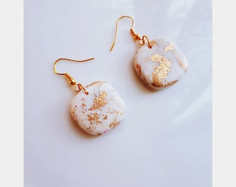 White and Gold Drop Earrings - Polymerclay, Handmade, Jewellery, Gold Plated, Gold Leaf, Accessory, Dangle Earrings, Minimalist