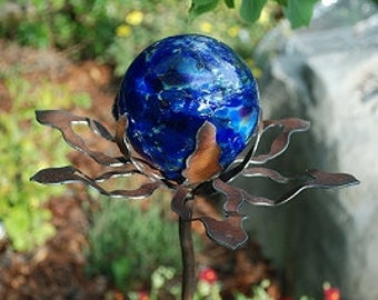 Garden Glass Ball - GARDEN STAKE - Metal Steel Enclosure