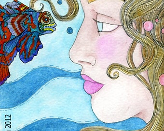 Treasures of the Sea Mermaid and Mandarin Fish 5x7