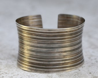 Tribal Anticlastic Cuff in Sterling Silver